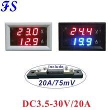 DC 3,5-30V 20A tensión Ampere medidor con Shunt 20A/75mV DC amperímetro voltímetro LED amplificador de voltios Digital medidor de Panel 3-Alambre de 48x29x21mm