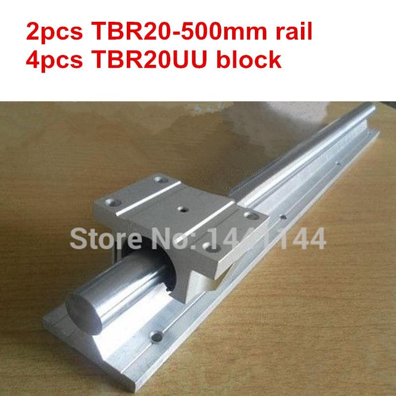 Carril guía lineal TBR20 2 piezas TBR20-500mm carril lineal + 4 piezas TBR20UU brida bloque deslizante lineal
