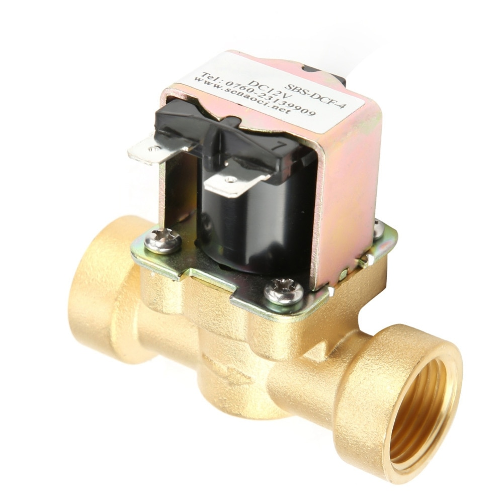 1 Uds. Normalmente válvula de agua de cuerpo de cobre electrica de válvula solenoide cc 12V DN15 G1/2 latón selenoide valf de alta calidad