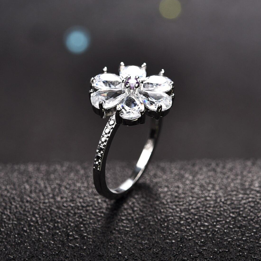 Gran flor Zircon anillos de plata con piedras para las mujeres boda joyería para fiesta de compromiso regalo de Navidad