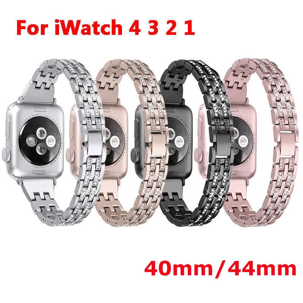 Correa de reloj de repuesto para Apple Watch serie iWatch 4 correa de eslabones de acero inoxidable 40/44mm