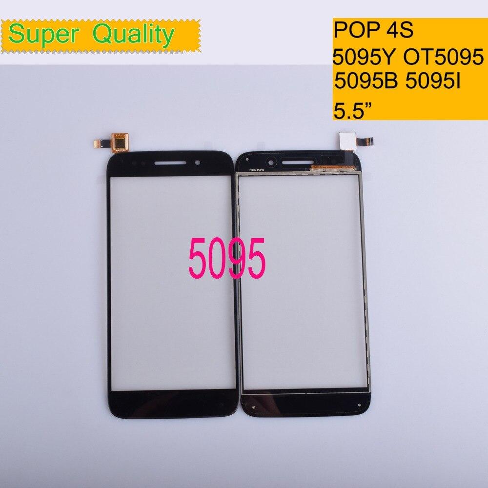 """10 unids/lote para Alcatel Pop 4S OT 5095 5095B 5095I 5095K 5095Y OT5095 Touch Sensor de panel de pantalla digitalizador de pantalla táctil de 5,5"""""""