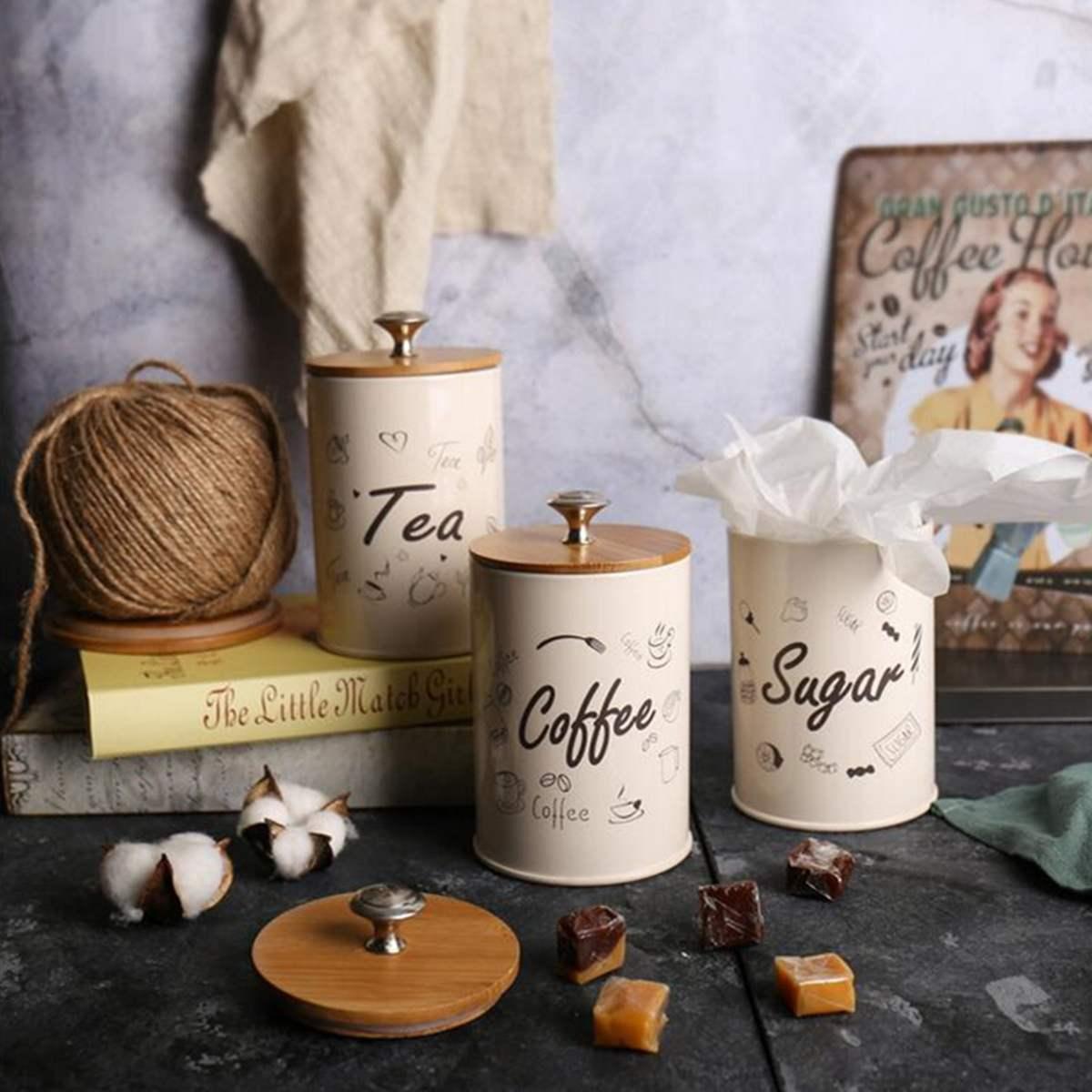 1 مجموعة القهوة الشاي السكر زجاجات الجرار تخزين مربع علبة ل المطبخ حاويات الجرار زجاجات الحلوى السكر تخزين عاء الملاكمة