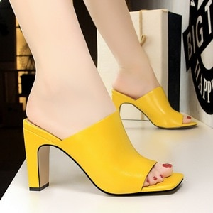 Fashion Heeled Bigtree Shoes Woman Rubber High Square Mouth Fish Slippers Women Summer 34 35 36 37 38 39 40 White Yellow Black