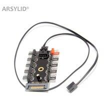 ARSYLID 4Pin مروحة محور 1 إلى 10 مسند تبريد للاب توب مدمج به مكبر صوت الفاصل مهائي كابلات PWM 12 V 4Pin امدادات الطاقة SATA D4pin