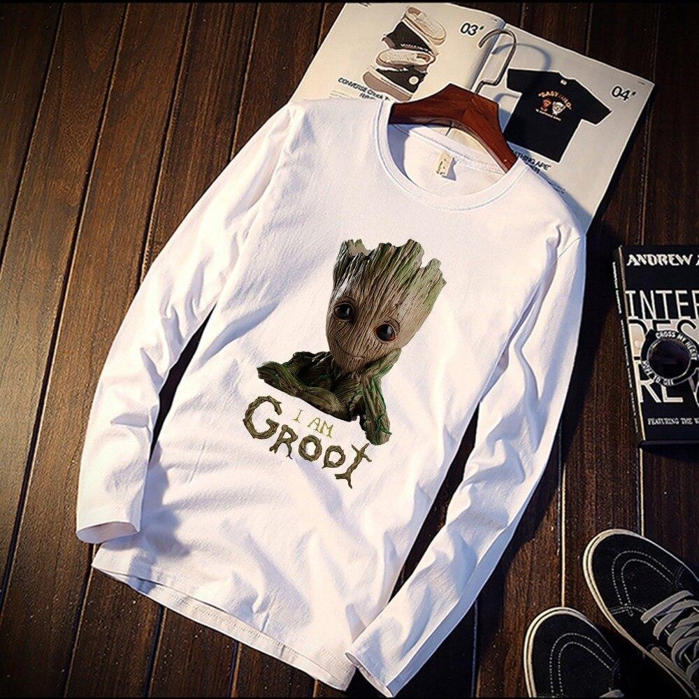 Nueva camiseta de manga larga, Unisex, lindo bebé, Groot, vengadores, Heroer, impresión 100%, Camiseta de algodón, camiseta Casual con cuello redondo, ropa de calle