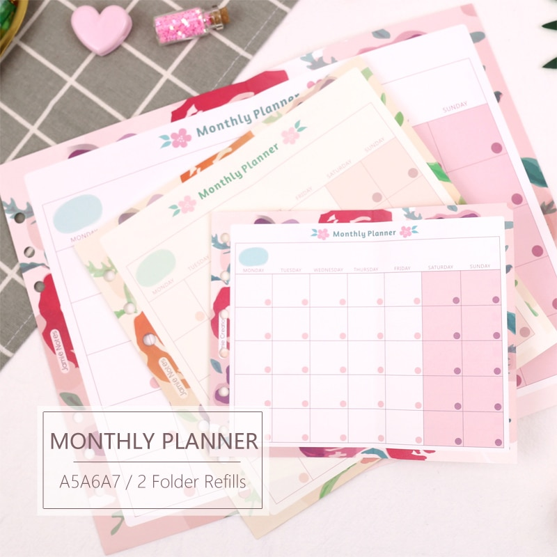 MyPretties Floral Monthly Planner Refill Papers A5 A6 A7 2 Fold Filler Papers for 6 Hole Binder Organizer Notebook Papers