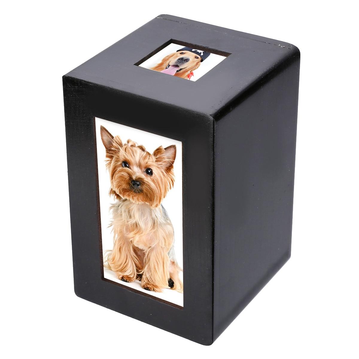 Mayitr caja de urna de madera negra para mascotas, urna de cremación para perros, marco de foto conmemorativo pacífico, caja para guardar en casa para perros silenciosos