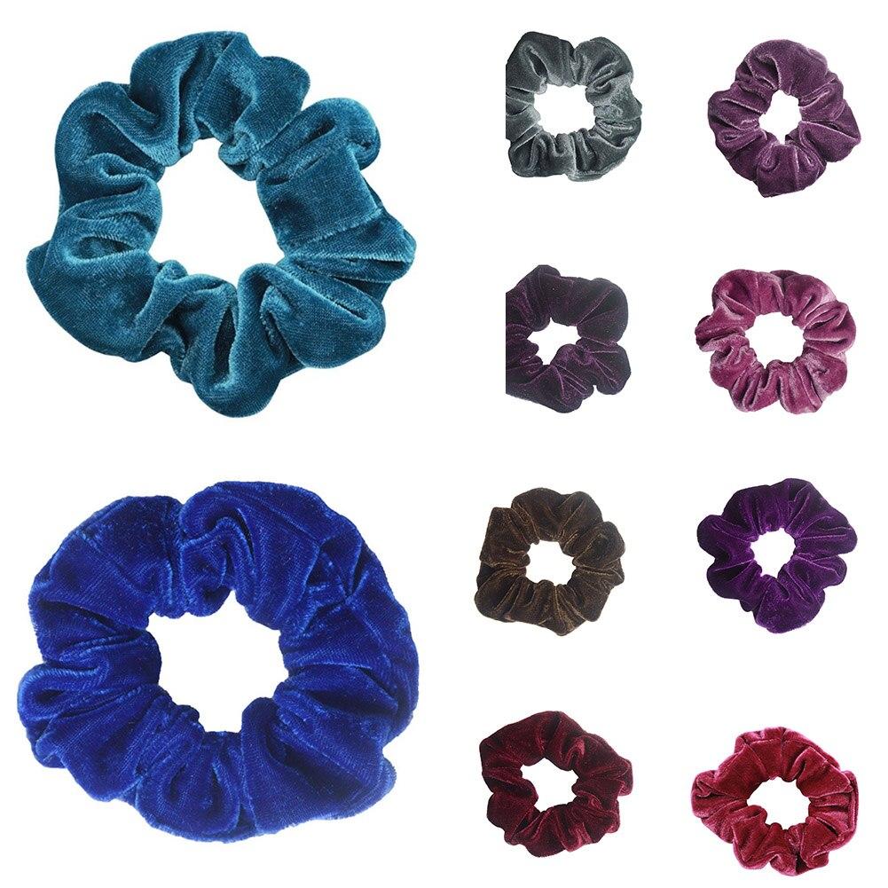 Bandes de cheveux en velours pour femmes   Accessoires de cheveux, mode cheveux de luxe doux, chouchies solide, bandes de cheveux extensibles et violettes