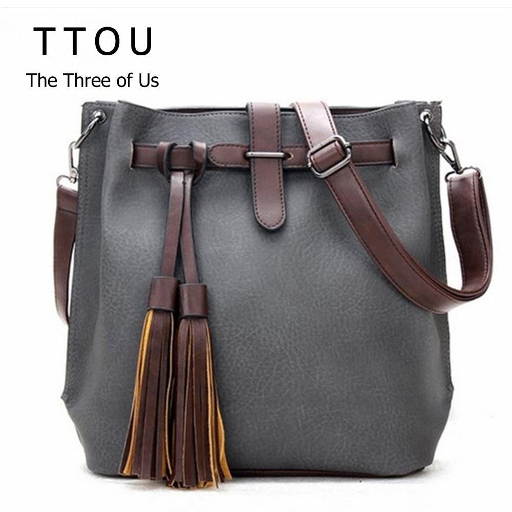 Bolso de hombro con borla Ttou para mujer, bolsos de moda de diseñador, bolso Vintage con bandolera de cuero de PU, bolso de venta
