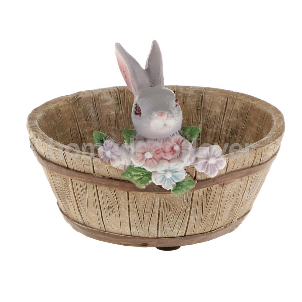 De conejo de conejito de resina flor Cactus hierbas Sedum suculenta olla maceta de Bonsai a través de lecho de planta maceta para jardín de casa Decoración