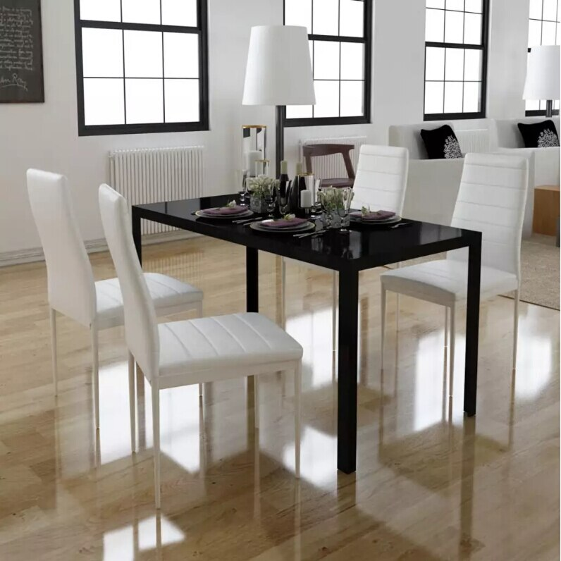 Vidaxl design moderno 5 pçs mesa de jantar conjunto cadeiras brancas e mesas pretas casa de bonecas sala de jantar conjunto de móveis