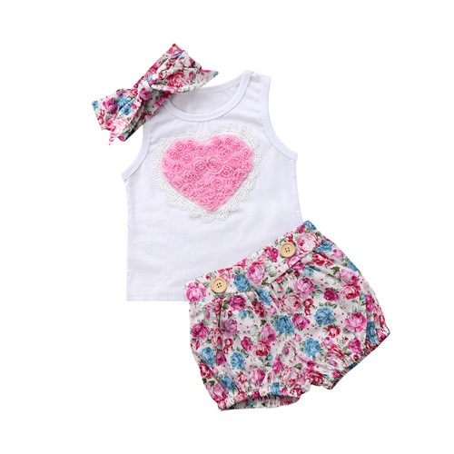 Bebê recém-nascido crianças menina de algodão camiseta vestido calças roupa do bebê roupas do bebê meninas sem mangas camiseta shorts roupas conjunto