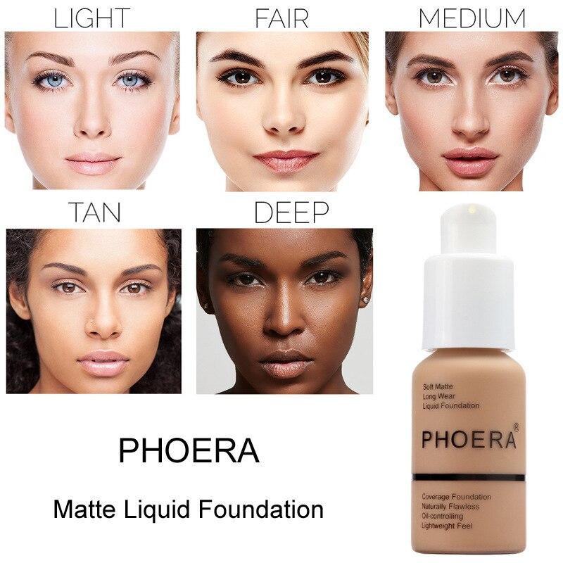 PHOERA-crema correctora de Base Facial, brillo, impermeable, cobertura completa, profesional, mate