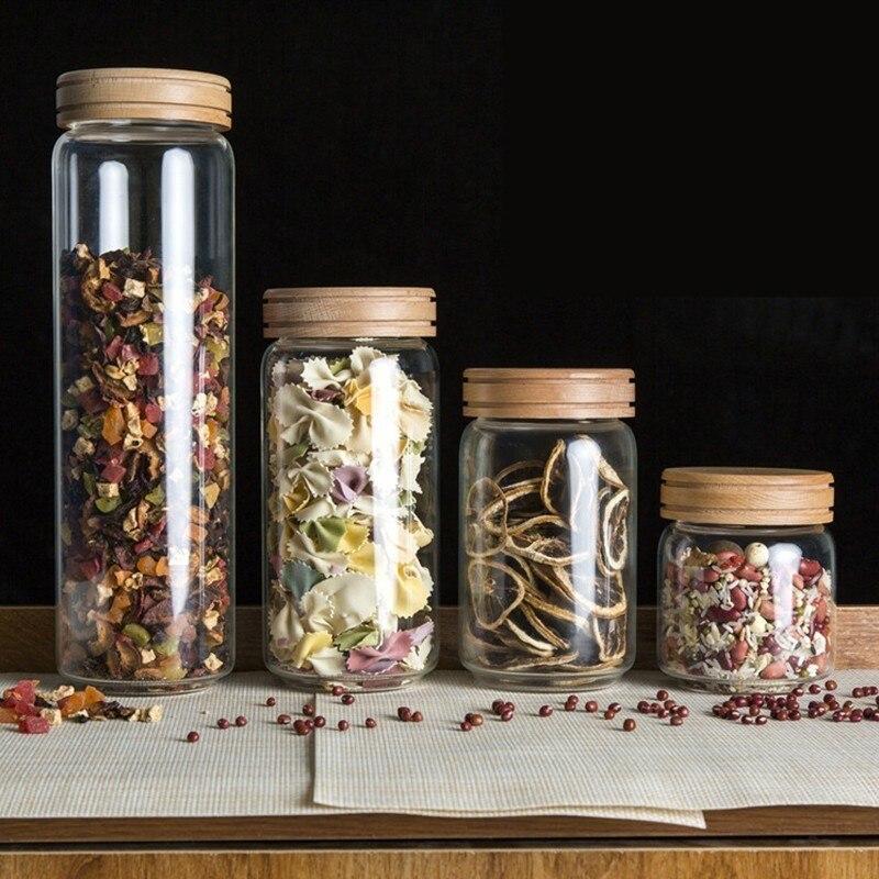 Jarras de vidrio Borosilica, juego de botellas, latas selladas con tapa de madera para especias, té, café dulces, a granel, recipiente hermético
