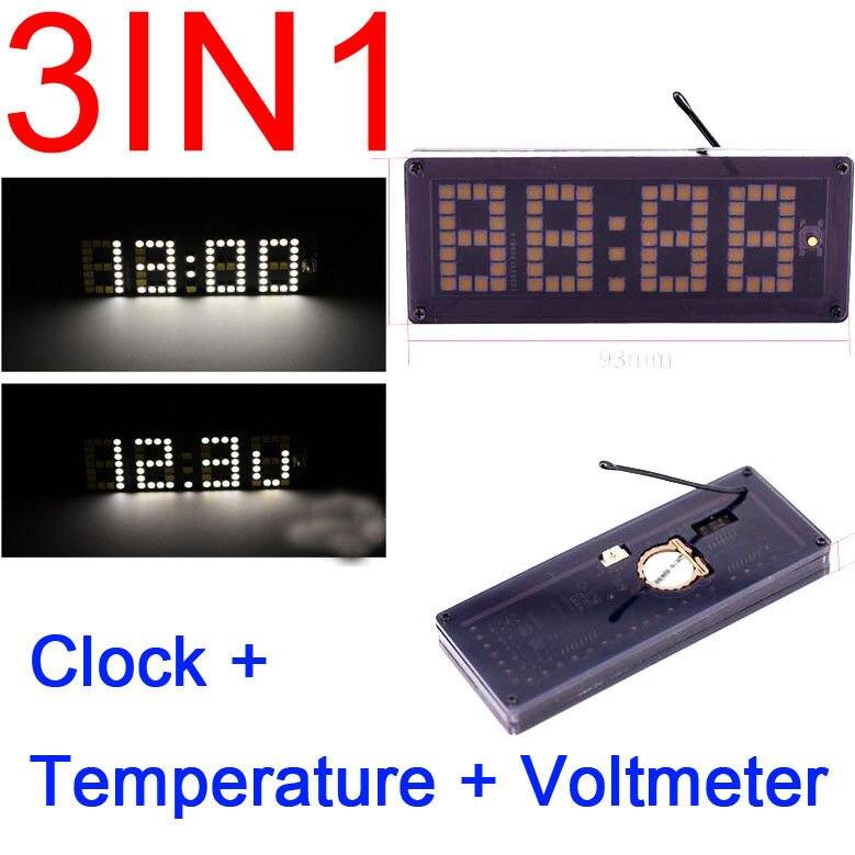 Pantalla digital matriz de puntos reloj electrónico + temperatura + voltímetro 12v 24v Coche