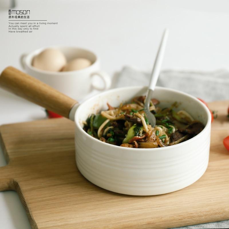 Japanese ceramic tableware soup rice noodles bowl fruit salad single wooden handle bowl thick porridge dish plate tableware