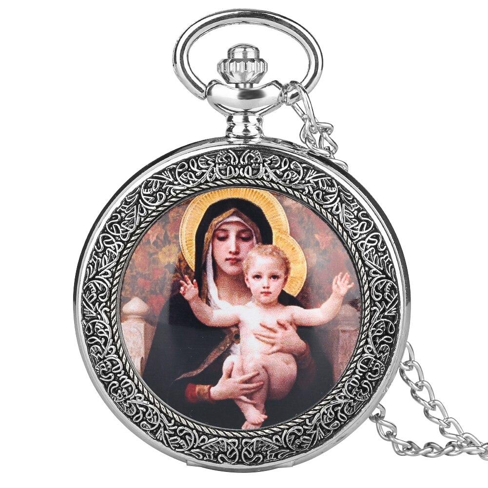 Reloj de bolsillo de cuarzo con caja de plata y bronce Vintage para mujer, relojes grandes creativos para hombres, collar con patrón de Virgen María y Jesús