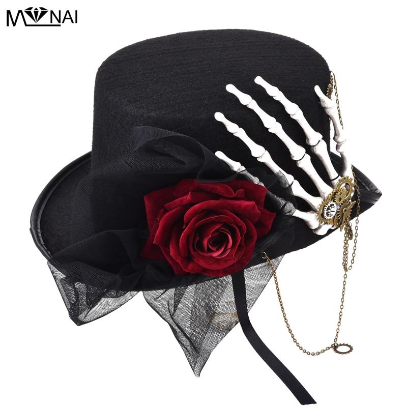 Chapéu de Festa Vintage Retro Feminino Fedora Steampunk Rosa Rendas Esqueleto Mão Gótico Engrenagens Punk Chapéus Acessório