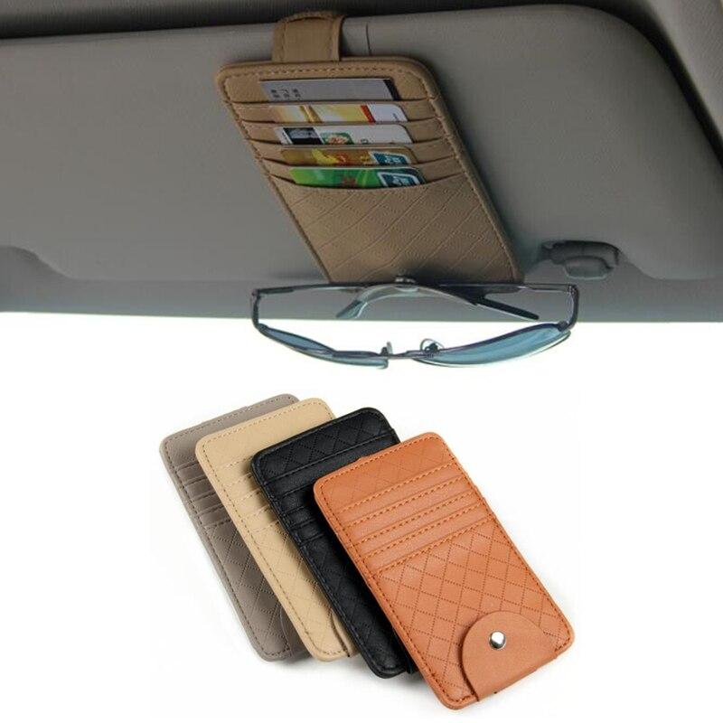 Car Auto Sun Visor Point Pocket Organizer Pouch Bag Card Glasses Storage Holder Car-styling