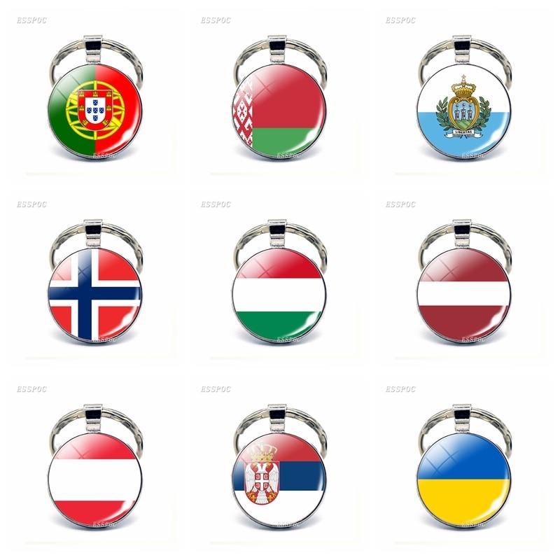 Europe Country Flag Keychain Austria Ukraine Norway Hungary Latvia Luxembourg Belarus Flag Key Chain Key Rings Flag Pendant