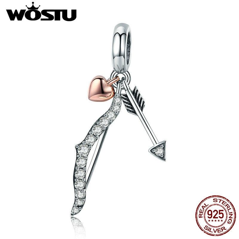 WOSTU Classic Hotsale 925 Sterling Silver Love Wishes Bow and Arrow Pendant fit Original Bracelet Women Fashion Jewelry CQC777