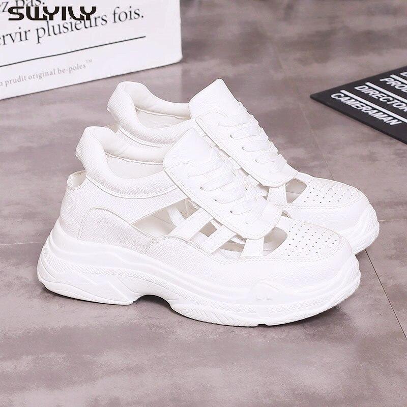 Swyivy chaussure pu sapatos de plataforma sandálias femininas 2020 verão sandálias para as mulheres respirável cunhas sapatos mulher branco sandale femme