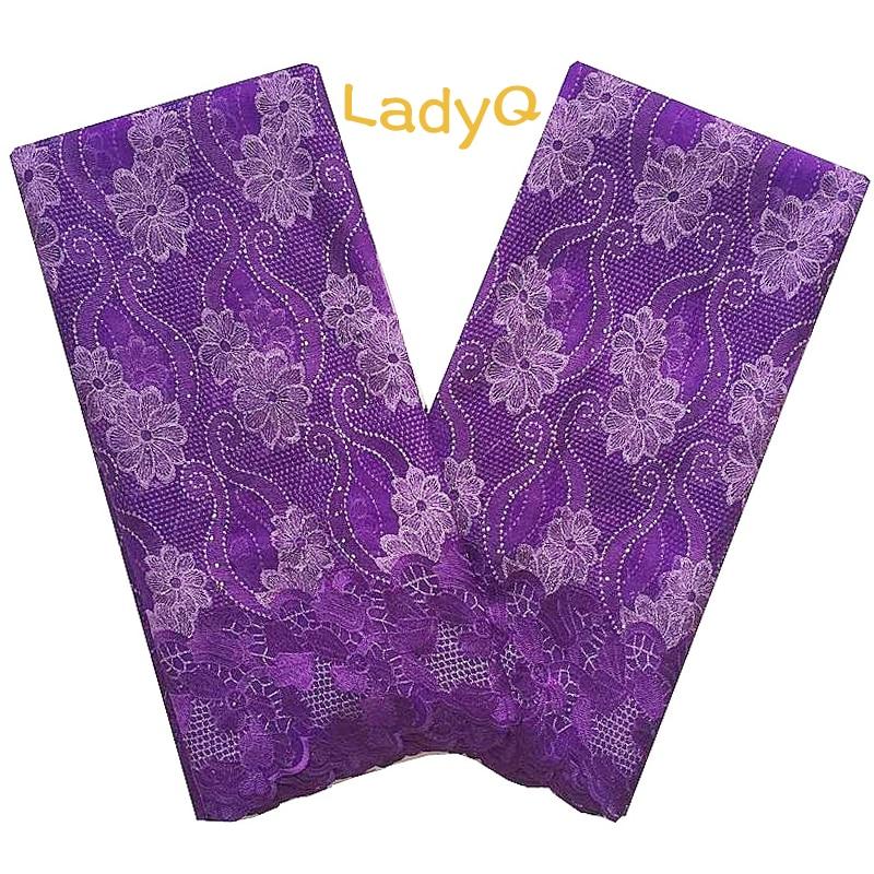 Tela de encaje púrpura y oro, materiales nigerianos, telas de encaje francés 2018, tela de encaje de tul africano, encaje africano Verde de 5 yardas