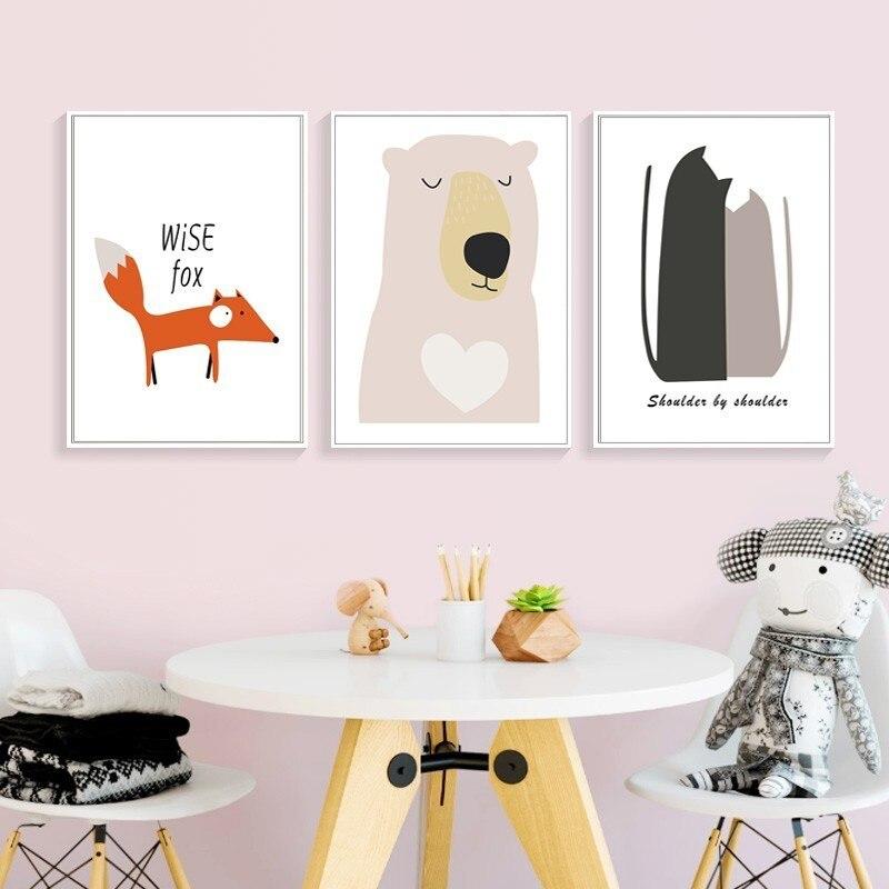 Dibujos animados de vida segura, lienzo dulce para guardería, pinturas de arte pop, póster de animales de oso Zorro, Impresión de pared, imagen para niños, habitación de bebé, decoración del hogar