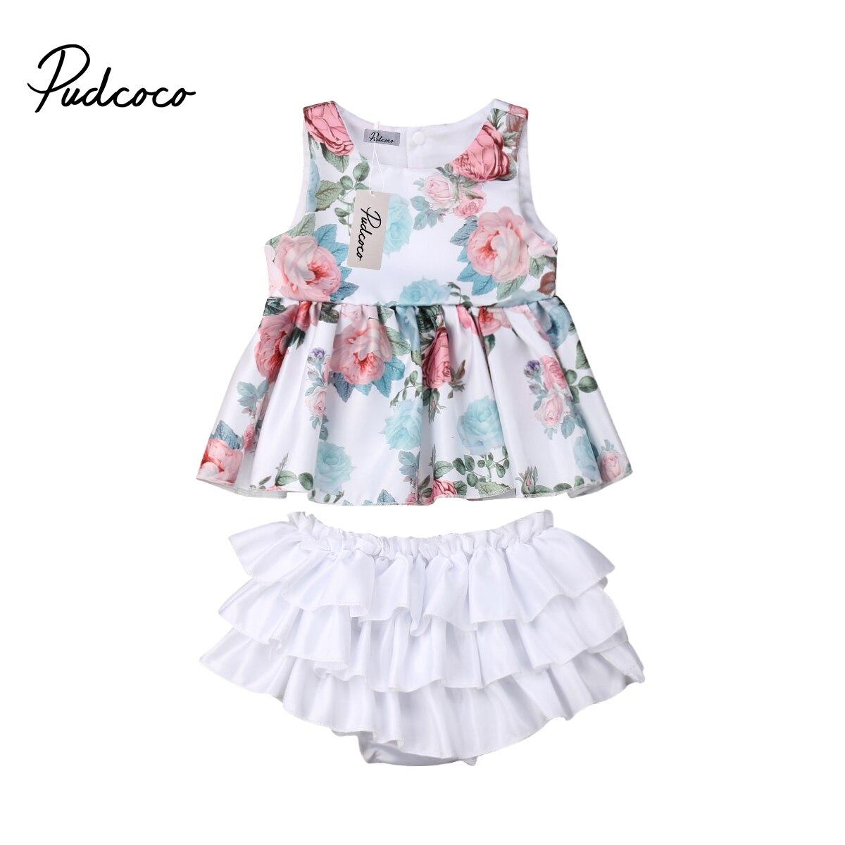 Pudcoco Neugeborenen Baby Mädchen Cartoon Sleeveless Tank Tops T shirt + Shorts Briefs 2 stücke Outfits Sommer Kinder Mädchen Baumwolle kleidung 0-18M