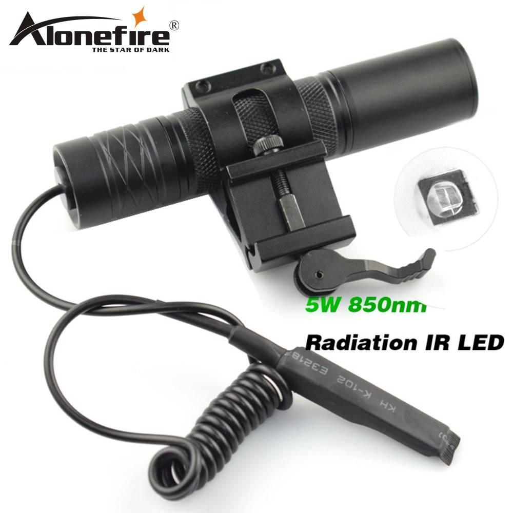 AloneFire, luz de Camping, lámpara de caza, linterna IR, lámpara 5 W, antorcha 850nm, Zoom, radiación infrarroja, LED IR, linterna de visión nocturna