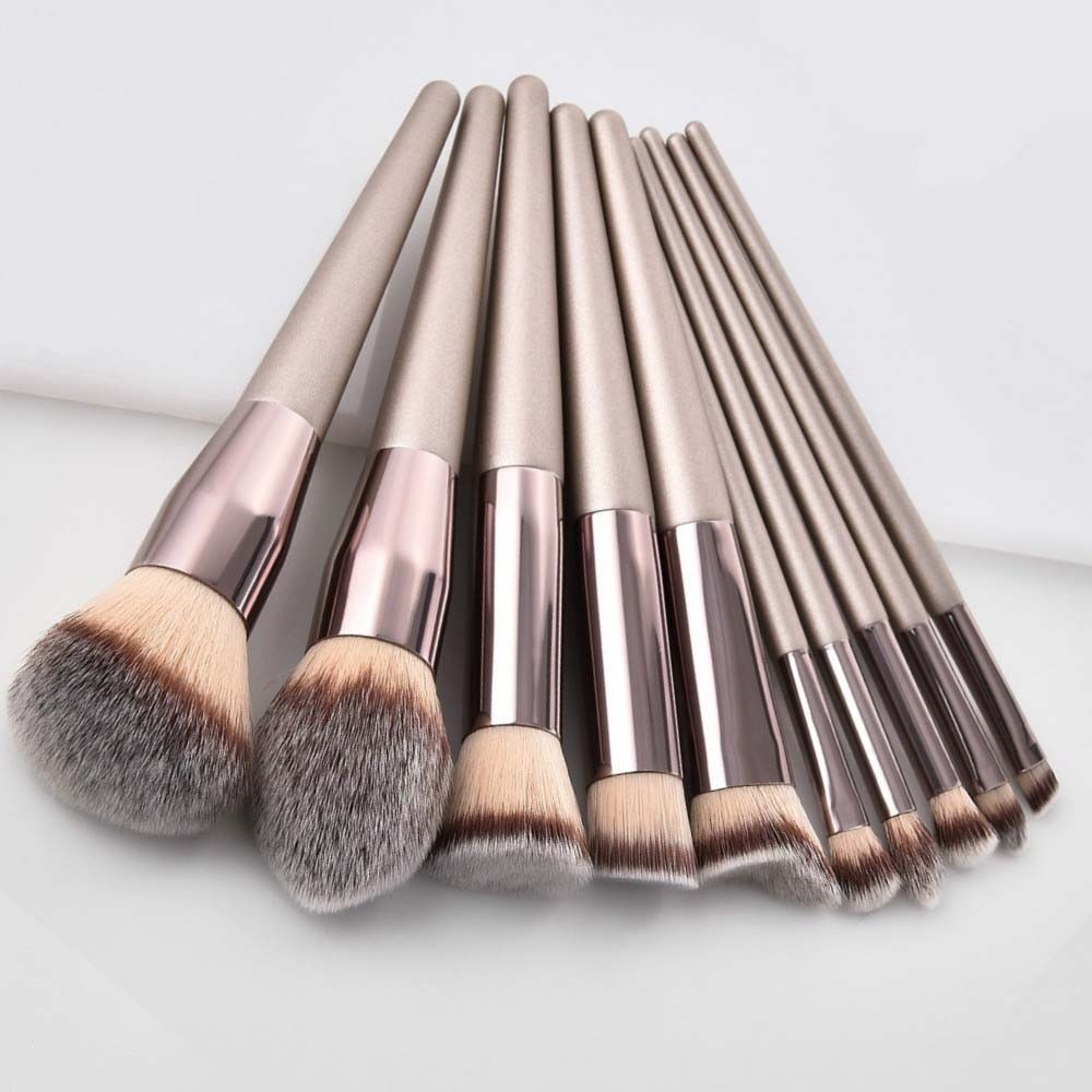 Luxury Champagne Makeup Brushes Set For Foundation Powder Blush Eyeshadow Concealer Lip Eye Make Up