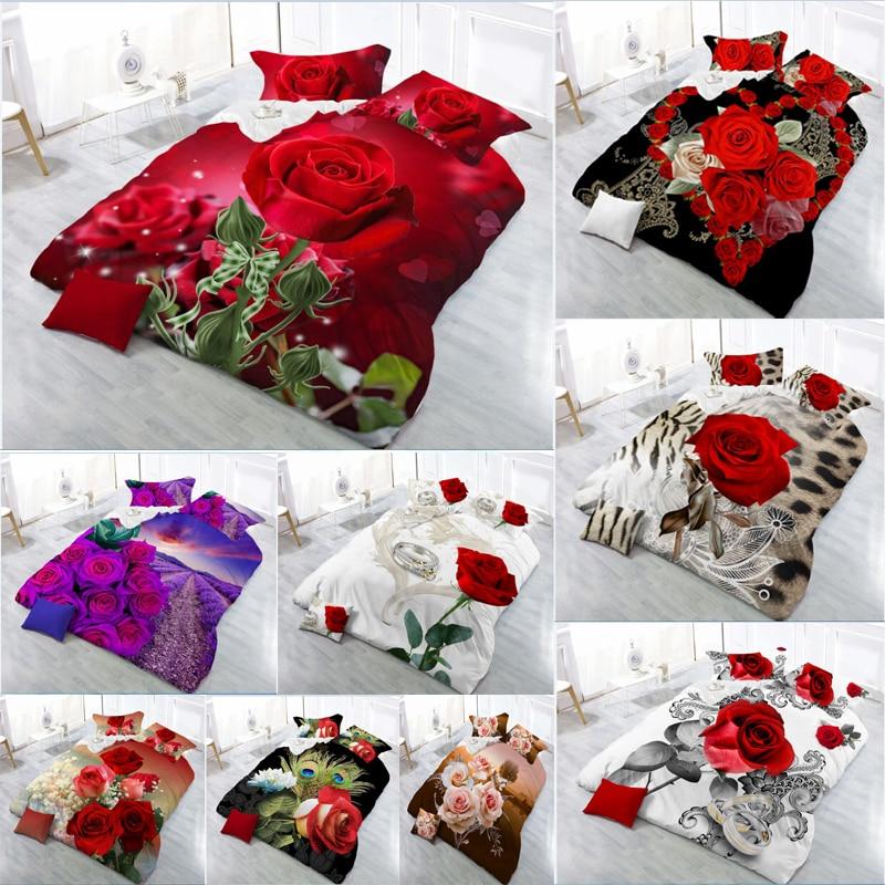 AliExpress - 3D Red Rose Bedding Set Linen Flower Double Bed Sheet King Duvet Quilt Cover Bedclothes Pillowcase 4pcs/set Home Textile Beauty