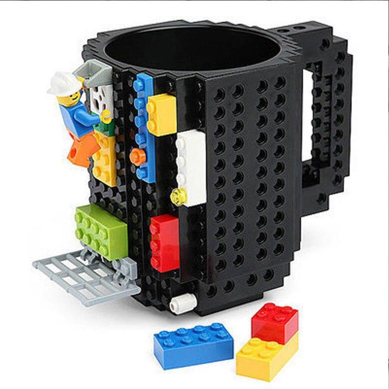 Caneca criativa de leite para café 350ml, suporte de água potável para construção de lego blocos de design