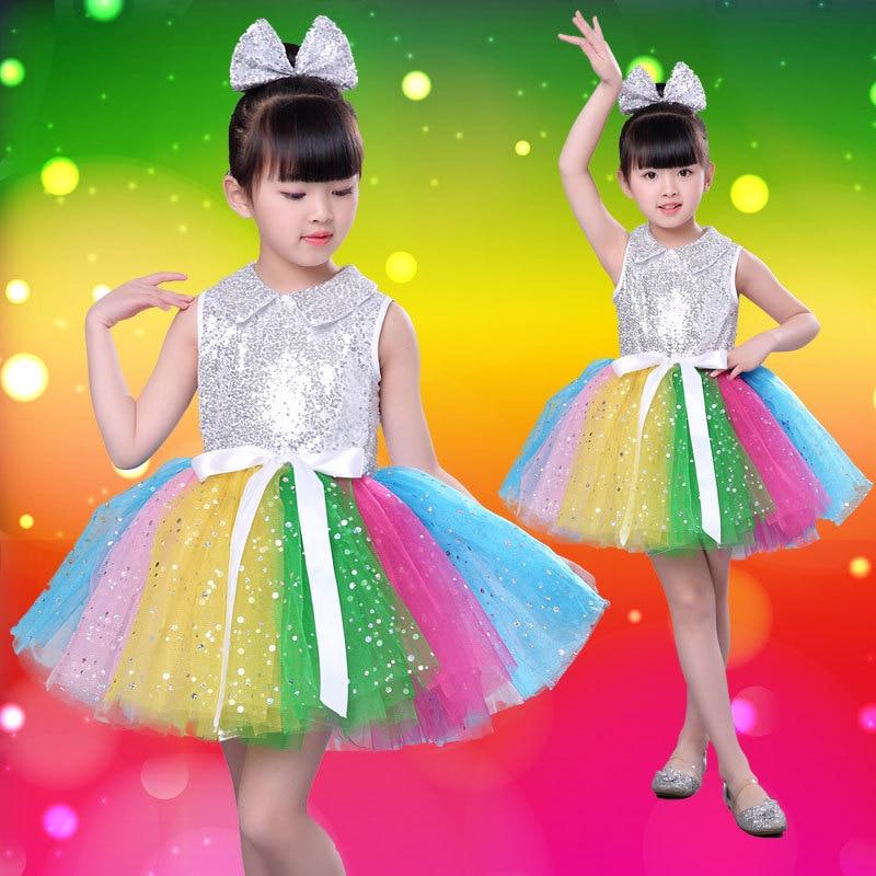 Children's Performing Dresses New Princess Dresses Chorus Kindergarten Sequins Performing Dresses