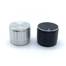 5 teile/los Schwarz Silber Aluminium legierung Potentiometer/Encoder Knöpfe Schalter Kappen 21x17MM