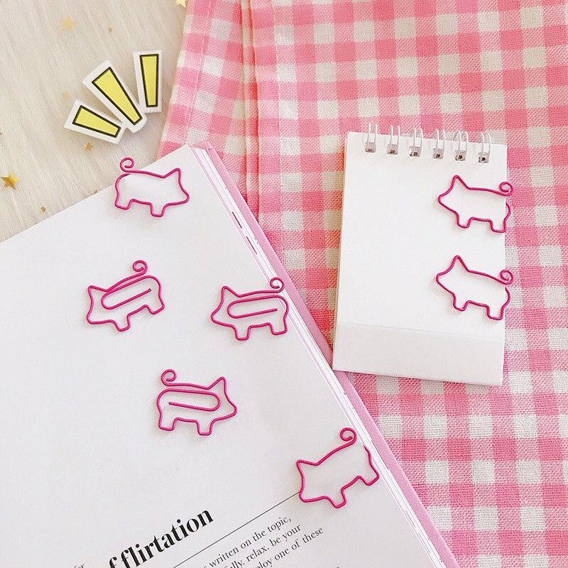 SIXONE 10 pièces/Los dessin animé rose cochon signets Kawaii trombone en métal pour livre trombones cadeau bureau fournitures scolaires