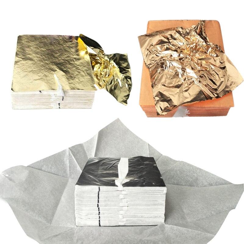 100 шт 14*14 см лист дизайн бумага искусство ремесло DIY Ремесло Декор позолота бумага из фольги s имитация золота серебро медь