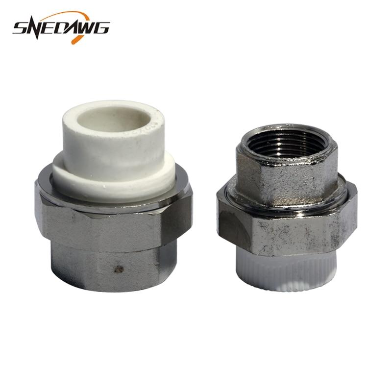 Conexión de tubería de agua PPR 20/25/32/40/50mm junta de suministro de agua 1/2 3/4 1 Unión conector tubería accesorio Junta