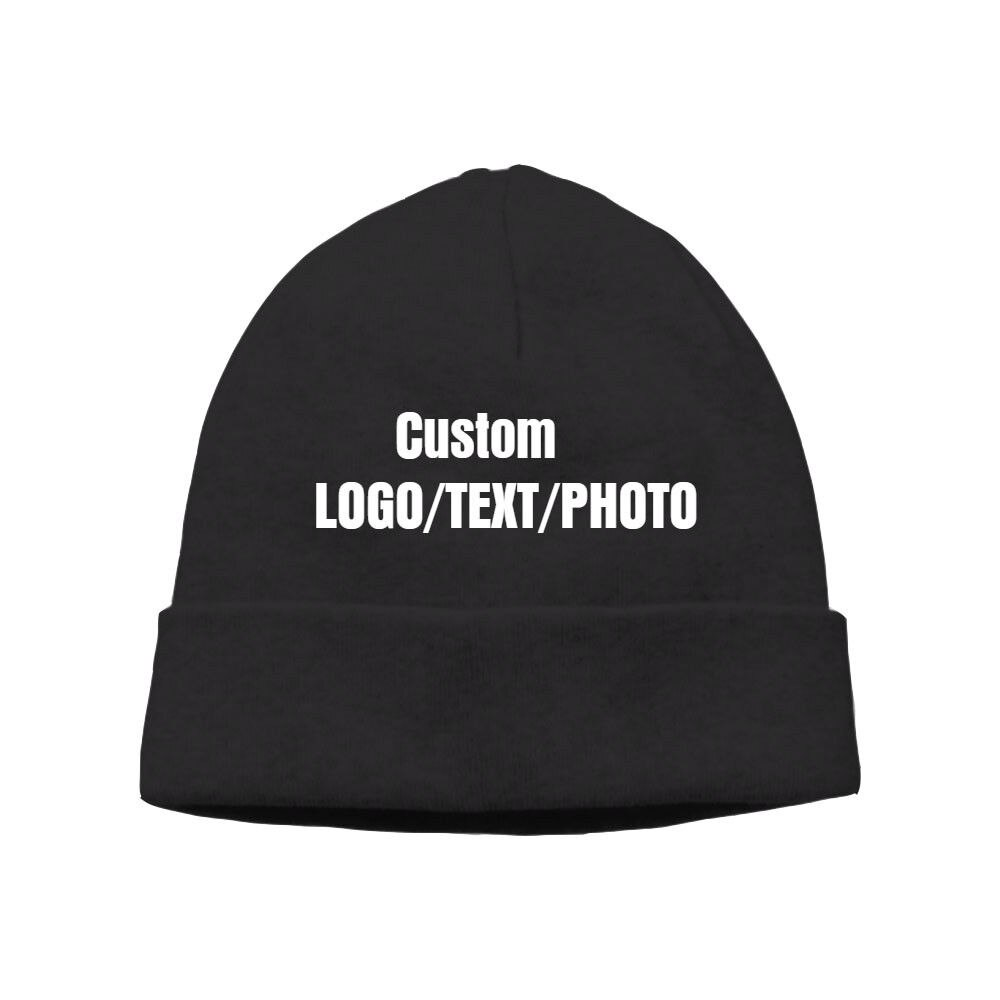 Gorro de lana personalizado con logotipo impreso/texto/foto gorro de invierno cálido Unisex