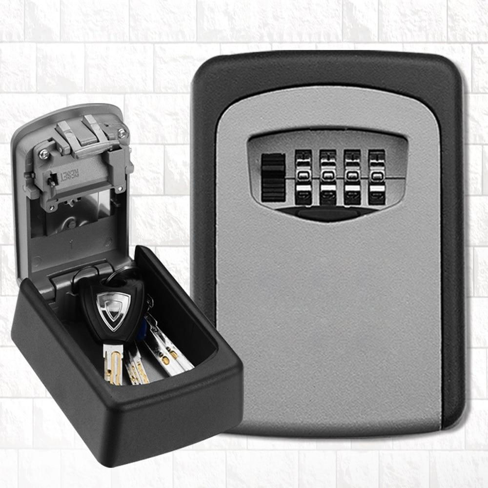 Caja de bloqueo de almacenamiento de llave al aire libre montada en la pared caja de seguridad de contraseña de combinación de 4 dígitos clave de código reiniciable Hider
