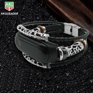 For Xiaomi Miband3 Wrist Strap Retro Genuine Leather Watch Band Bracelet Wristband For Mi band 3 Leather Strap