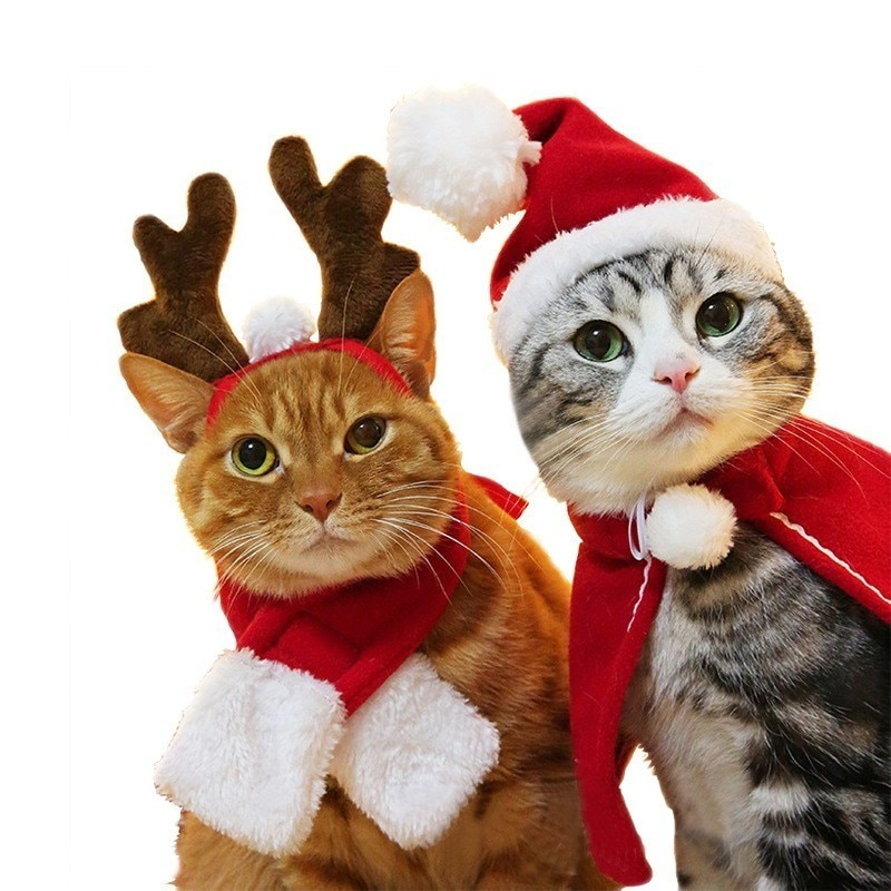 Navidad gato peludo traje disfraz de Reno perro accesorios para perros pequeños Chat Navidad Elk asta forma sombreros mascotas sombreros