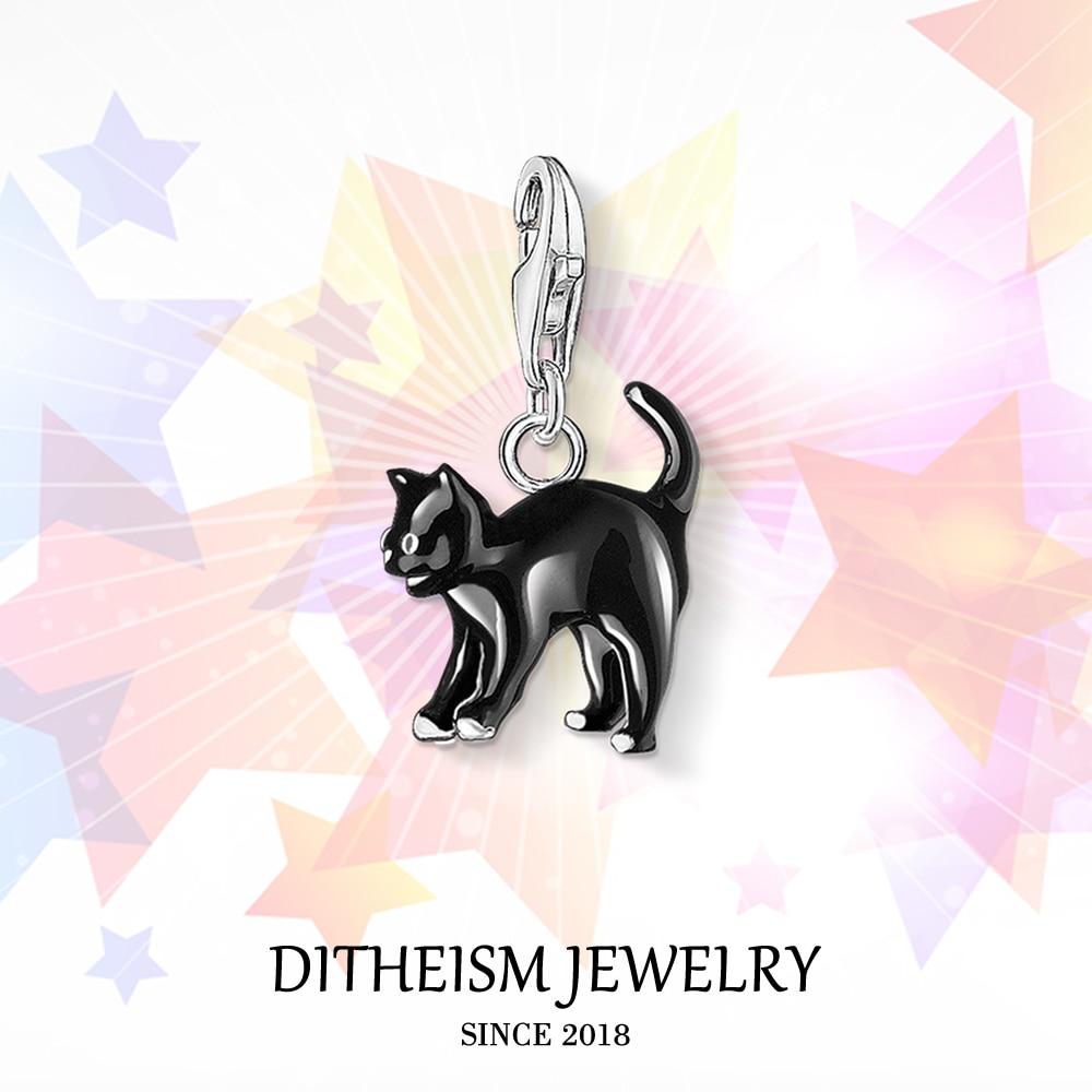 Colgante de amuletos de gato negro, joyería de moda 2018, regalo de Plata de Ley 925 moderno para mujeres, hombres, niños, niñas, brazalete, bolso de collar