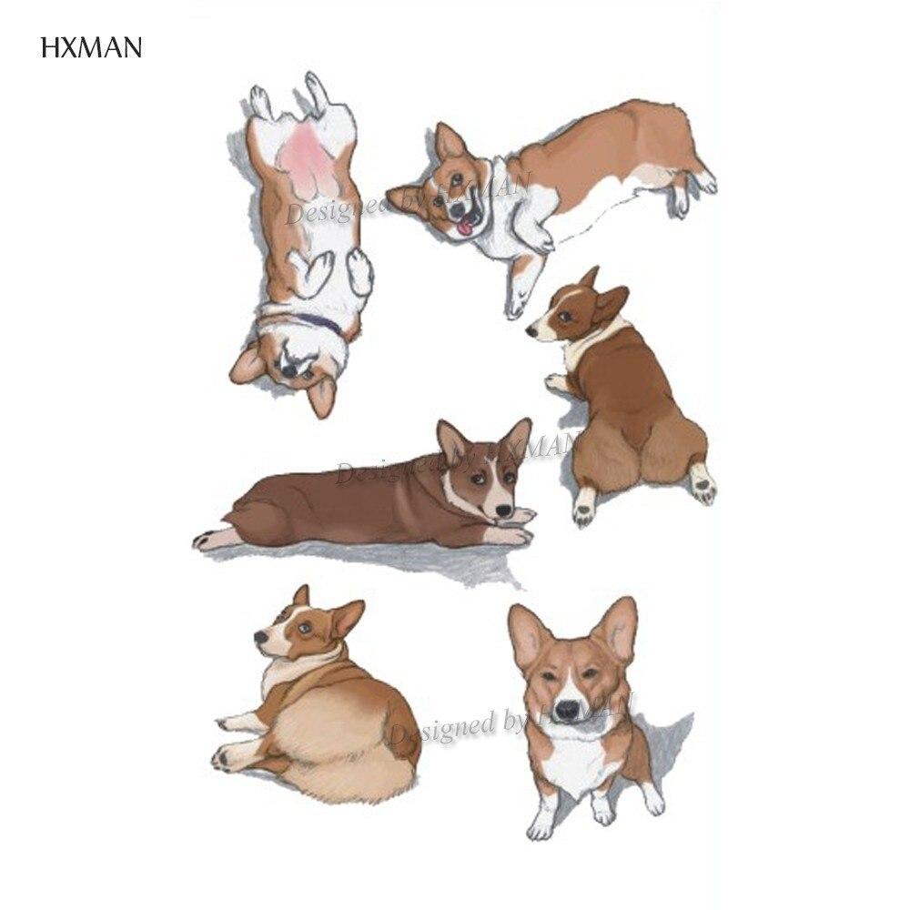 Временная тату HXMAN Corgi Dog, стикер для животных, для женщин, модные сексуальные боди-арт, для девочек, поддельные тату, 9,8х6 см, A-372