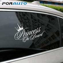 FORAUTO princesse couronne voiture autocollant vinyle décalcomanies chambre décoration voiture-style noir/argent 17*10cm Auto accessoires