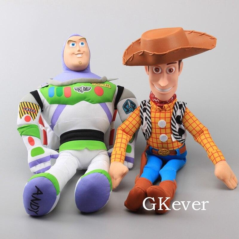 Cartoon Big Size 50-55 cm Story Woody Buzzlight Year Plush Toys With Plastic Head Children Birthday Gift