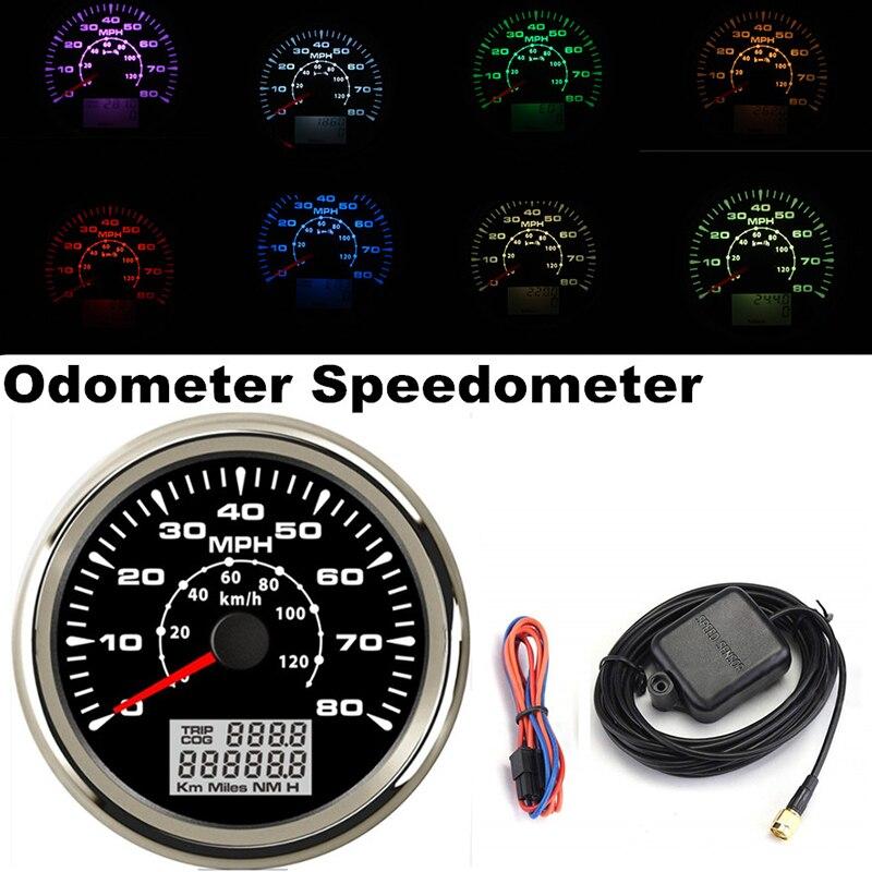 9-32V voiture camion moteur Auto GPS compteur de vitesse ODO tableau de bord jauge 7 couleurs rétro-éclairage vis fixation conception pour Auto bateau jauges