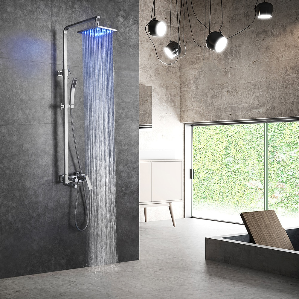 SKOWLL Bathtub Faucets Bathroom Bath Mixer LED Rain Shower Head Set Waterfall Taps System
