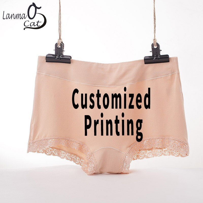 Lanmaocat mujeres bóxer cortos calzoncillos Boyshorts logotipo impresión de texto hembra boxeador pantalones cortos pantalones personalizado ropa interior envío gratis